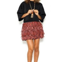 Red ruffle mini skirt