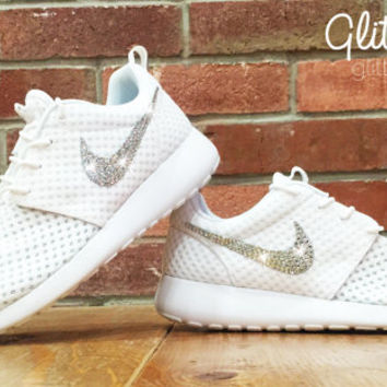Bling Nike Roshe Run Glitter Kicks - Blinged Nikes, Bling Shoes, Blinged out Nikes, Glitter Shoes White Metallic
