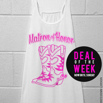 Cowgirl Boots Matron of Honor - White with Pink Flowy Racerback Tank