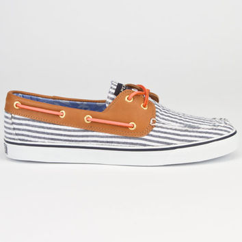 Sperry Top-Sider Bahama Seersucker Womens Boat Shoes Navy  In Sizes