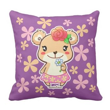 Cute Flower Bear Cotton Throw Pillow