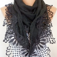 Black  Scarf    Headband Necklace Cowl with Lace Edge by fatwoman/93624063