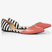 CORAL STRIPED D'ORSAY FLAT from EXPRESS