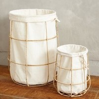 Framed Canvas Bins by Anthropologie White Set Of 2 Bath
