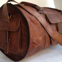 Leather Duffel Bag 24 inch sports Bag gym utility travel leather bag cabin weekend Bag outing overnight bag