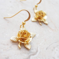 Rose Dangle Earrings Gold plated Earrings floral Jewelry romantic petals