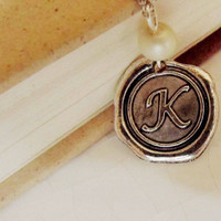 Personalized Wax Seal Necklace,  Initial Necklace, Monogrammed, Personalized Jewelry, Sterling Silver,