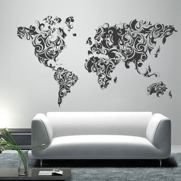 Wall World Map - Tribal World Map decal