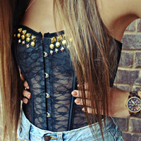 WILDHEARTS Hand Studded Black Lace Bustier by WildHeartsShorts