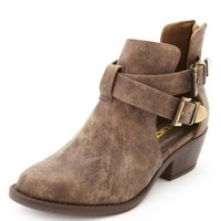 Cut-Out Belted Ankle Booties by Charlotte Russe - Taupe
