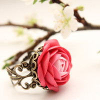 Pink and White flower Ranunculus ring free shipping by eteniren