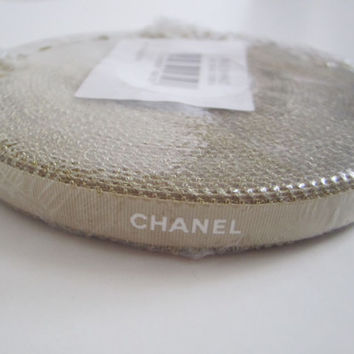 """Whole Roll of Authentic CHANEL Gold Ribbon with White Letters 3/8"""" DIY Headband Hairbow / Gift Wrapping / Trim"""