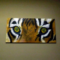 Original Oil Painting on canvas. Eye of the tiger.