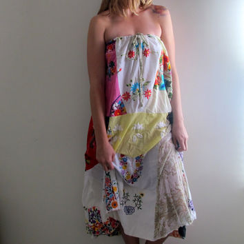 Vintage Floral Print Dress Long Maxi Flowy Free People Style Strapless Summer Boho Bohemian Gypsy Peasant Prairie