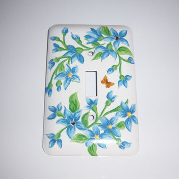 Blue floral steel single light switch cover - clear swarovski crystals