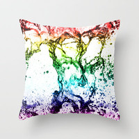 Rainbow Water play Throw Pillow by Karl Wilson Photography
