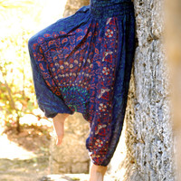 100% Organic Cotton Vibrant Royal Blue Harem Pants with Hand Block Print-Yoga Wear, Lounge Wear, Dance Wear, Spacious, Beautiful Colors