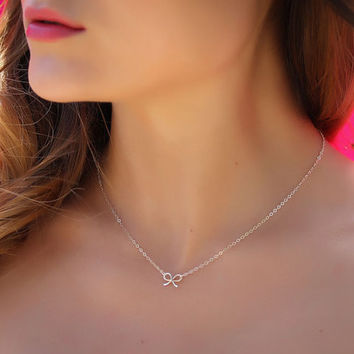 """Tiny bow necklace, silver bow necklace, bridesmaid necklace, bridal necklace, sweet 16 birthday,  gift under 25, """"Tiny Bow"""""""
