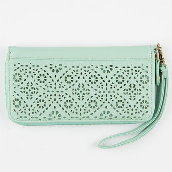 T-Shirt & Jeans Perforated Zip Around Wallet Mint One Size For Women 25140152301