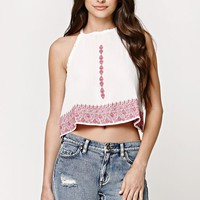 LA Hearts Embroidered Goddess Neck Top - Womens Shirts