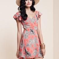 For Love & Lemons Hula Dress in Red Orchid Print