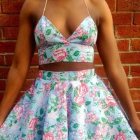 Blue Floral Triangle Bralette Crop Top | Style Icon`s Closet