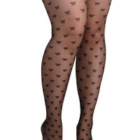 ModCloth Give It a Bow Tights in Plus