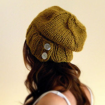 The Salt City. Womens Slouchy unisex chunky knit hat -  Citrine