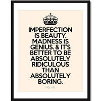 Imperfection Is Beauty Inspiring print in 8x10 on by theloveshop