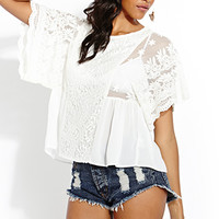 FOREVER 21 Whimsical Embroidered Blouse White Large