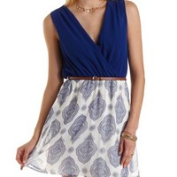 Belted Paisley Chiffon Skater Dress by Charlotte Russe