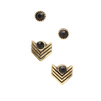 FOREVER 21 Chevron & Faux Stone Stud Set Gold/Black One