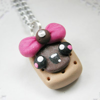 Kawaii Poptart Necklace Chocolate Food Jewelry Polymer Clay Jewelry for Tweens Teens and Adults