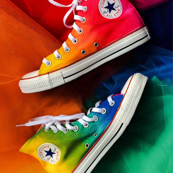 Rainbow Custom Converse Tie Dye HIGH TOP Rainbow Ombre Hi Top Converse Shoes