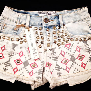 NEW High waist destroyed denim shorts with tribal motif size Sm/Med/Lg Ask a Question