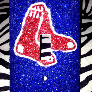 Red Sox Glittered Light Switch Cover