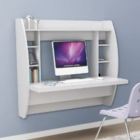 Prepac White Floating Desk with Storage