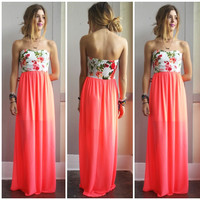 A Neon Floral Strapless Maxi