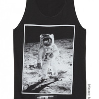 Astronaut Edwin Aldrin On Lunar Charcoal Black Singlet Vest Tunic Tank Top Sleeveless Shirt Women Indie Punk Rock T-Shirt Size S-M