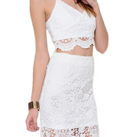 Purify Two Piece Scalloped Lace Set - White