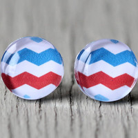 Red, White and Blue Earrings : American Chevron Stud Earrings, Fake Plugs, Cabochon, ZigZag, Festive, Fourth of July, Holiday