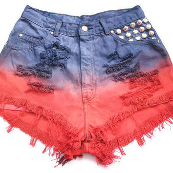 High waist dip dye shorts S by deathdiscolovesyou on Etsy
