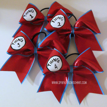 Thingy 1 2 3 4 Cheer Bow Hair Bow Cheerleading by SparkleBowsCheer