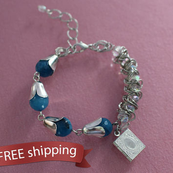 FREE shipping. Women's set - bracelet and earrings of blue agate, crystals, chain, charm locket book, gift for woman