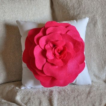 Hot Pink Rose on White Pillow by bedbuggs on Etsy