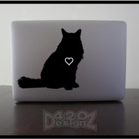 Cat ( Long haired )- Macbook Air, Macbook Pro, Macbook decals, sticker ,Vinyl Mac decals ,Apple Mac Decal, Laptop, iPad