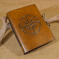 Medium - compass rose hand bound leather journal