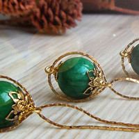 Emerald necklace * infinity necklace, may birthstone necklace, green and gold ball orb globe necklace, gemstone necklace