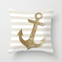 GLITTER ANCHOR IN GOLD Throw Pillow by Colorstudio