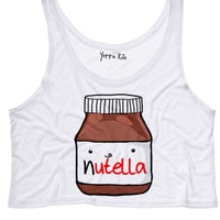 Nutella Drawing By S Crop Tank Top